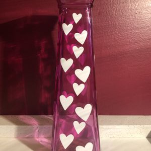 Pink Glass Flower Vase With White Hearts for Sale in Lancaster, PA