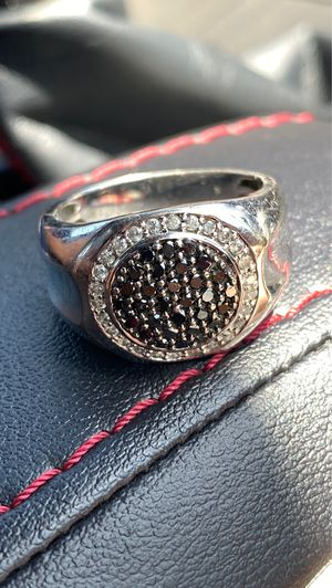 Gold men's ring with black and white diamonds for Sale in Newport Beach, CA