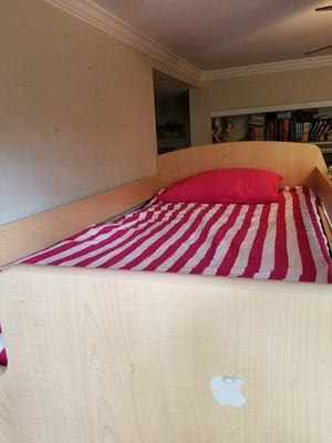 Twin over full bunk bed with side stairs for Sale in San Jose, CA