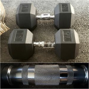 A Pair 75lbs Rubberized Hex Dumbbell (New Condition) for Sale in San Jose, CA