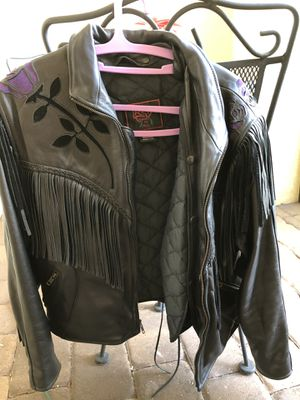 Leather motorcycle jacket,vest & chaps. for Sale in VLG WELLINGTN, FL
