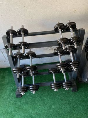 Adjustable dumbbell weight set, 10lbs up to 35lbs (six pairs) for home exercise for Sale in Cupertino, CA