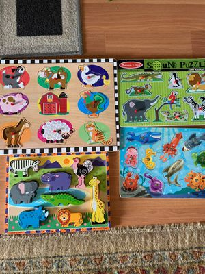 Melissa & Doug animal puzzle for kids 4 sets for Sale in New Britain, CT