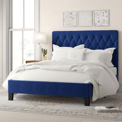 Royal Blue, Suede, Tufted Headboard & Frame. for Sale in Renton,  WA