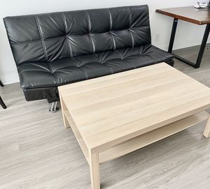 Convertible Leather Couch w/ Blonde Wooden Coffee Table for Sale in Los Angeles, CA