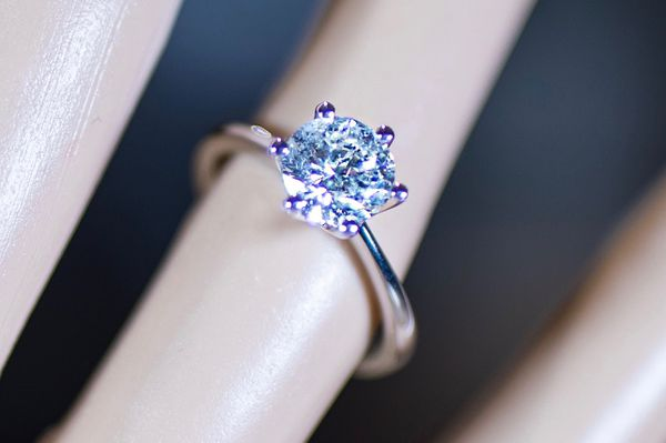 Gorgeous 1.5 Carat Diamond Engagement Ring - Round Diamond with 14K White Gold Tiffany & Co Style Band