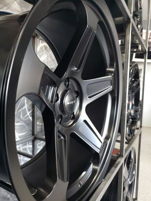 Satin black dodge demon set hellcat style wheels 20x9 and 20x10.5 fits charger challenger magnum 300 rims tires wheels for Sale in Tempe, AZ