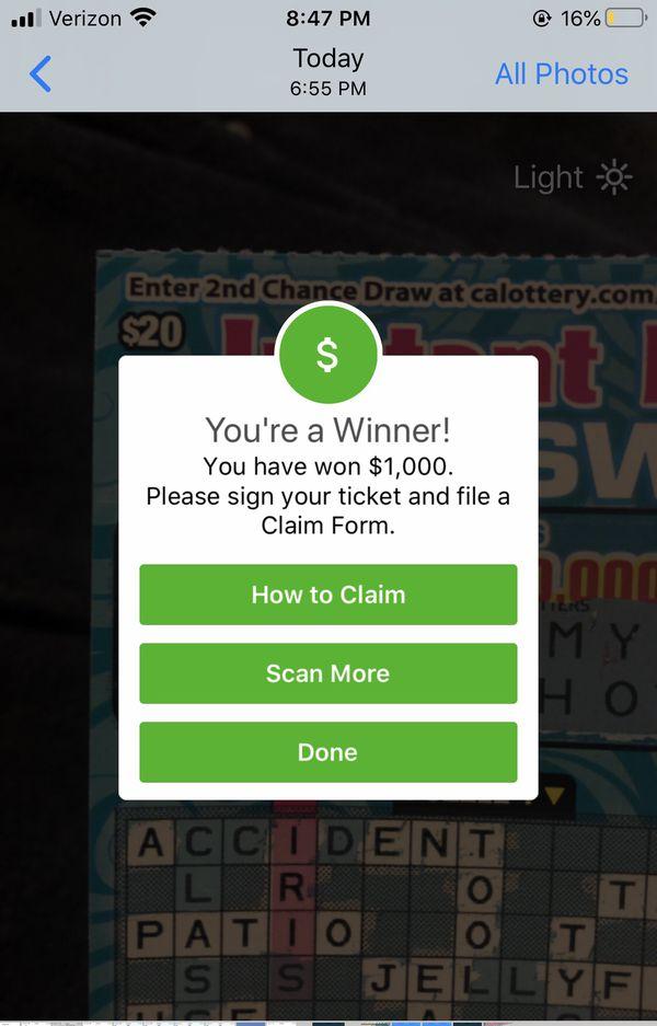 $1000 winning lottery ticket