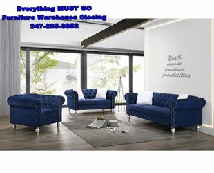 Blue sofa set. Must Go for Sale in Queens,  NY
