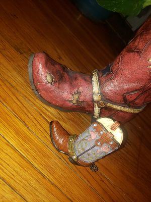 Western boot planter & plant plus a mini boot for Sale in Peoria, IL