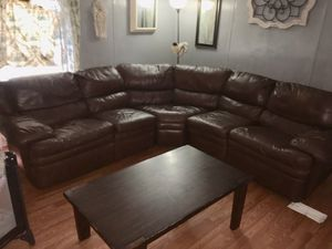 Real leather wrap around couch that reclines on each end no rips or tiers for Sale in Drew, MS