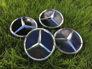 "(4) 75mm 3"" Mercedes Benz Center Caps Wheel Rim Cap AMG Black/Chrome for Sale in Scottsdale, AZ"