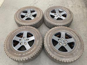 """(4) 17"""" Black Jeep Wrangler Wheels + 245/75R17 Cooper Discoverer RTX - $425 for Sale in Santa Ana, CA"""