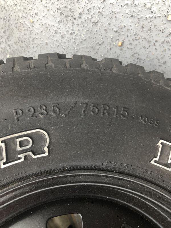 5 Goodyear Wrangler Radial 235/75/15 tires