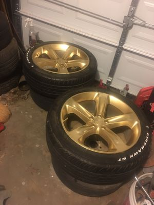 20' Gold Painted Dodge Rims W/Tires. 5x115 for Sale in UPPR MARLBORO, MD