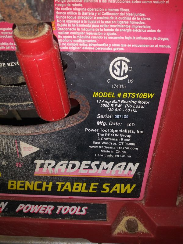 Table saw with stand.