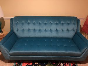 Suede turquoise couch! Fairly New! No stains. for Sale in Durham, NC