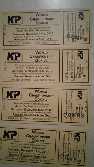 4 front row tickets to championship boxing Harrisburg Pennsylvania this Saturday 6pm for Sale in Lancaster, PA