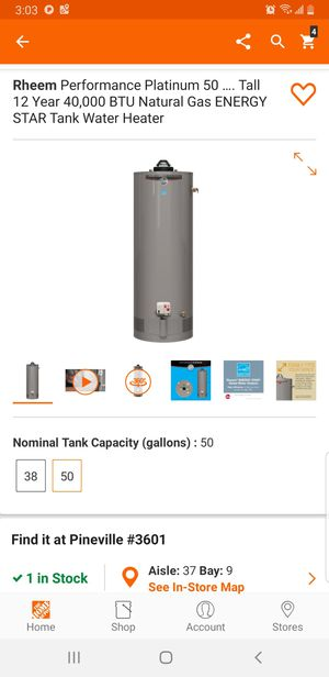 Rheem gas 50gallon water heater for Sale in Charlotte, NC