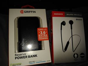 Bluetooth headphones and power bank for Sale in North Smithfield, RI