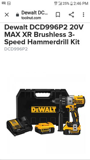 Dcd996p2 max dr brushless cordless 3 speed1/2in hammer drill/driver kit [5.0 ah] for Sale in Seattle, WA