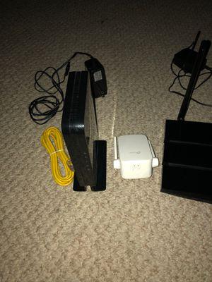 Tp link router netgear modem and tp link extender for Sale in Las Vegas, NV