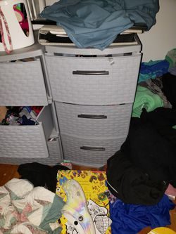 Plastic weave 3 tier bins one small one large for Sale in Lowell,  MA