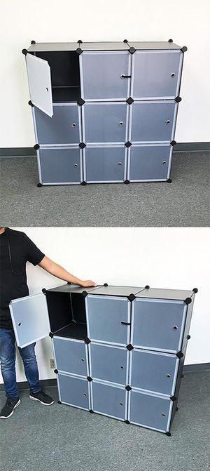 "(NEW) $35 Plastic Storage 9-Cube DYI Shelf with Door Clothing Wardobe 43""x14""x43"" for Sale in Montebello, CA"