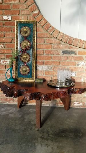 Mid-Century Red Wood Burl Coffee/Side/End Table for Sale in Culver City, CA