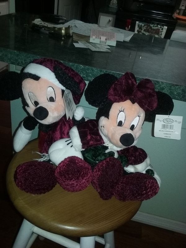 New 15in Mickey & Minnie Mouse Dolls Christmas decorations