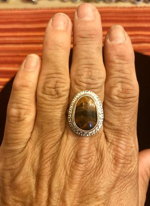 New! Beautiful natural petrified wood set in 99% pure silver ring. All silver and stone work has been hand done. Size 8.5. for Sale in Tolleson, AZ