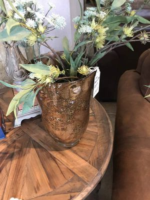 Bronze Gold Vase with Artificial Flowers was $98 for Sale in San Antonio, TX