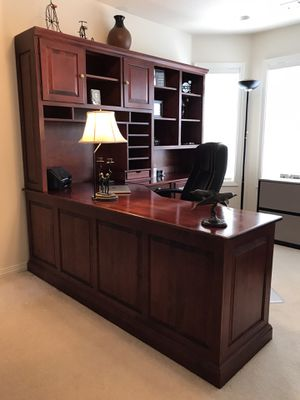 Beautiful raised panel desk, hutch, and lateral file for sale for Sale in Newberg, OR