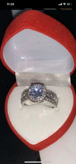 925 Sterling Silver Opal/Brilliant Cut Round Heart & Arrow CZ Diamond Band Ring size 8 for Sale in Kent, WA