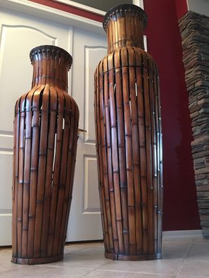 Huge home decor vases pots / 5feet tall / wood and iron nail heads vase / home accent decorative urn for Sale in Glendale, AZ