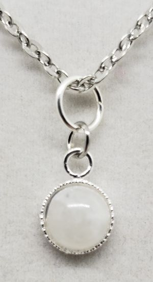 Natural Round Moonstone Silver Necklace for Sale in Justin, TX