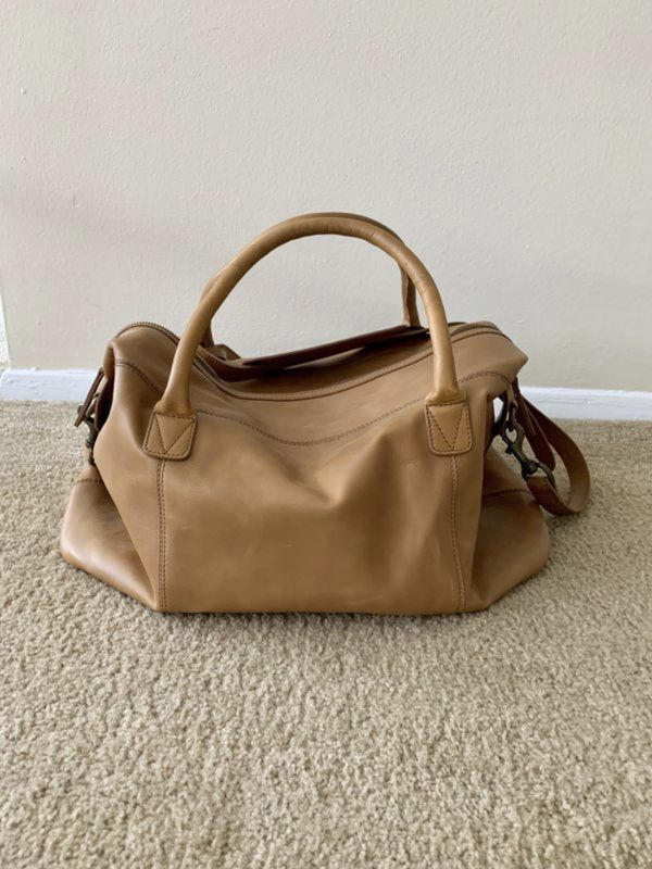 Camel-colored Men's Leather Day/Travel Bag
