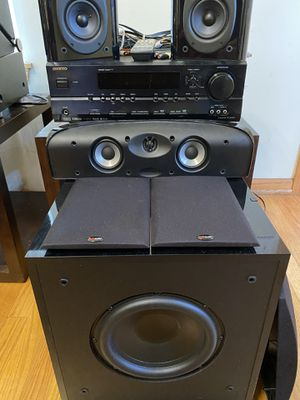 Polk Audio home theater with powered subwoofer and onkyo av receiver for Sale in Aurora, IL