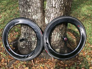 Zipp 808 Firecrest Carbon Tubular Wheelset with Wheel Case for Sale in Dublin, GA