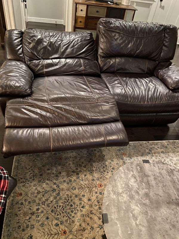 Brown leather sofa couch electronic recliners super comfortable sectional option