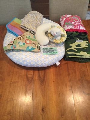 Car seat canopies, neck resting pillows, nursing pillow and covers plus changing pad for Sale in Montesano, WA