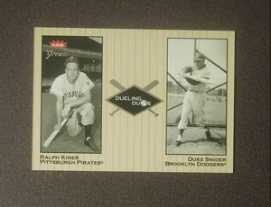 2002 Fleer Greats Dueling Duos Duke Snider Dodgers Ralph Kiner Pirates #17 Baseball Card Vintage Collectible Sports MLB Special for Sale in Salem, OH