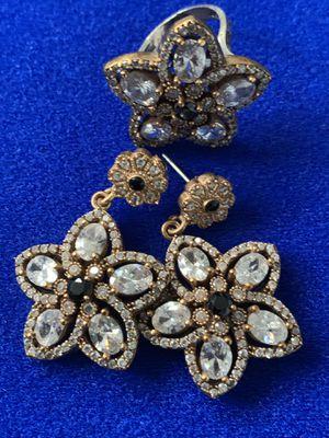 Sapphire Topaz Flower Earrings & Cocktail Ring Size 7 for Sale in Nashville, TN