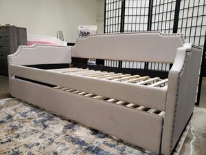 Beige Daybed with Trundle, Twin over Twin Bed Frame for Sale in Fountain Valley, CA