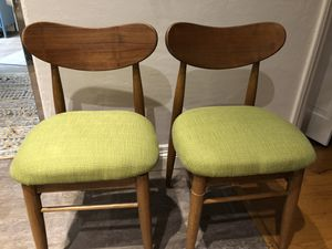 2 Mid-century modern danish chairs, upholstered in new fabric for Sale in San Marcos, CA