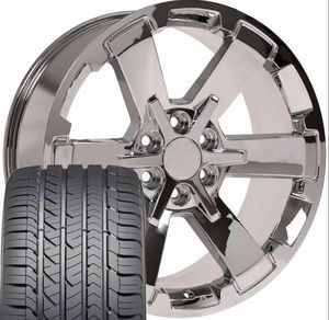 22x9 Wheels Tires Fit Silverado Sierra Chevy Chrome Rim GY 5662 CK162 W1X Package deal 1899.00 Best Tires 📍33733 Groesbeck Hwy Fraser, MI 48026 for Sale in Sterling Heights, MI