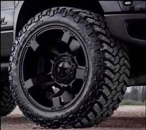 """17"""" Toyota Tacoma Rims & Tires Package • 17"""" XD 134 Addict 2 Wheels Rims • 17"""" Mud Terrain Tires Size 285/70R17 • Package Includes Leveling Kit for Sale in La Habra, CA"""