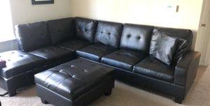 Black Leather Sofa for Sale in Springfield, VA