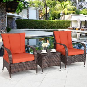 Brown Rattan Outdoor Furniture Set Patio Bistro Two Chairs Coffee Table Beige or Orange for Sale in Sacramento, CA