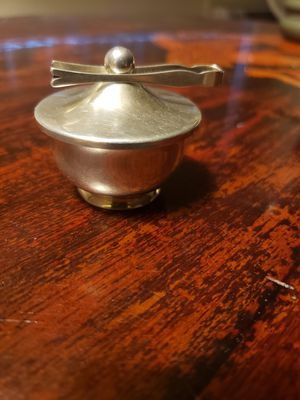 Antique WEB sterling silver salt container with web sterling tong for Sale in Riverside, CA
